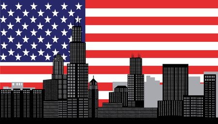 midwest: chicago skyline with flag