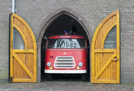 old fire truck in dutch garage   Stock Photo - 18700550