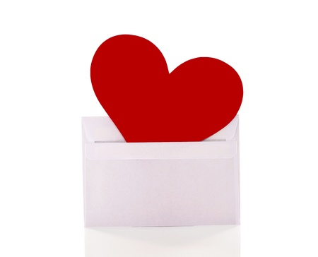 red heart in a white enveloppe photo