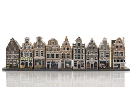 ミニチュア モデル住宅からアムステルダム スカイライン