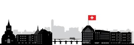 basel skyline with flag