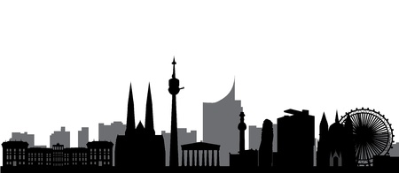 austria flag: vienna skyline with hotel tower and architecture