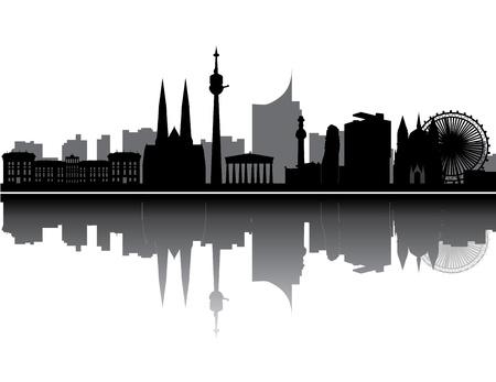 호텔 타워와 아키텍처 비엔나 스카이 라인 일러스트