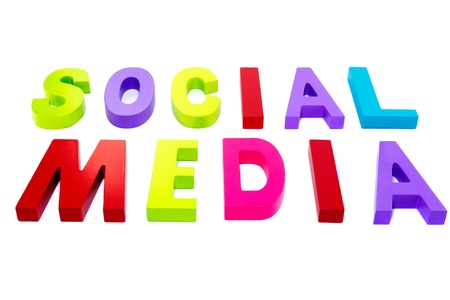 social media in red green pink text on isolated white background photo