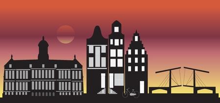 amsterdam skyline by night photo