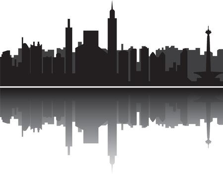 jakarta skyline indonesia in black and white photo