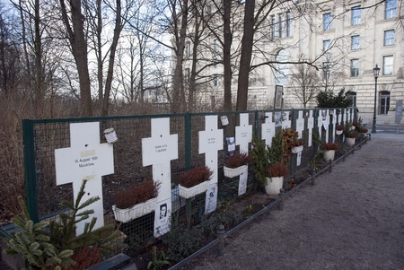 Grave crosses near the brandenburger tor Berlin from people try to escape east berlin during war