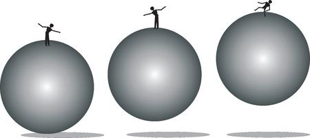 mensen in balans op de ballen