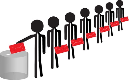 people in a row for voting