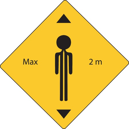 high road: yellow road sign with maximun high