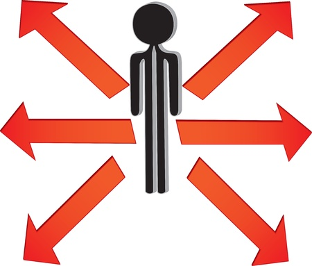 man with the choice in directions Stock Vector - 22179237