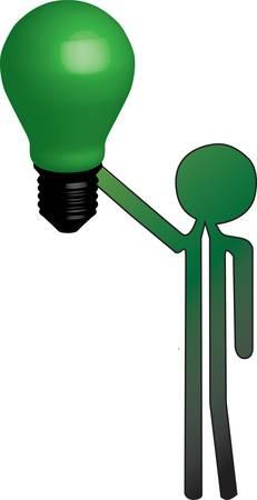 man with green light Ilustração