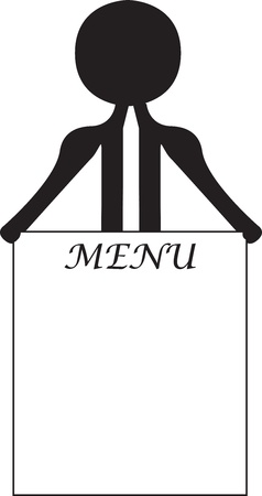 man with the menu card Vector
