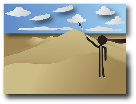 man painting the clouds in the sky Vector