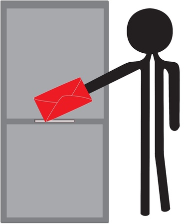 biased: uomo distacco disegno enveloppe rosso