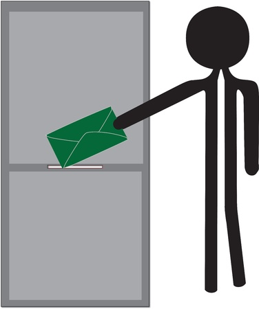 man posting green enveloppe drawing Stock Vector - 22179274