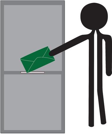 biased: uomo distacco disegno enveloppe verde