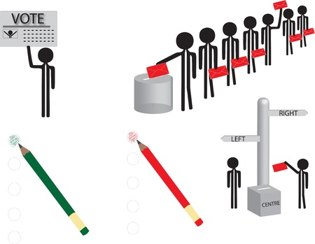 voting people and red and green pencil