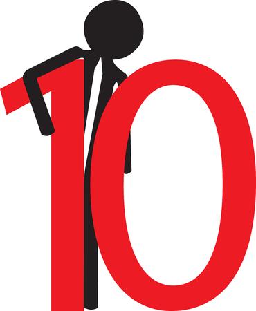 numero diez: hombre con el n�mero diez