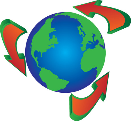 recycling campaign: recycle arrows around the globe world