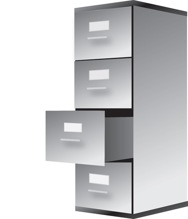 drawing of filing cabinet isoalted on white
