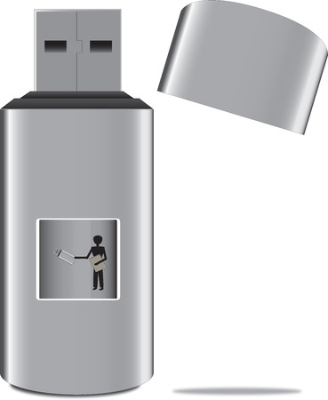 man with the usb stick  Vector