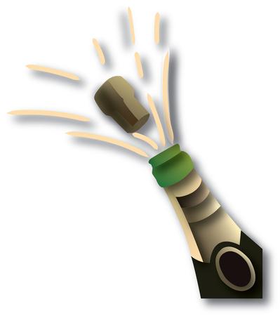 biased: verde bottiglia di champagne e vetro Vettoriali