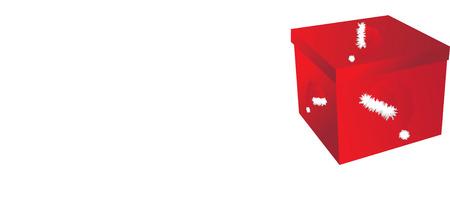 generosity: red present box with white decoration Illustration