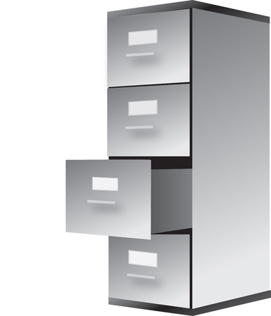 filing cabinet: drawing of filing cabinet isoalted on white
