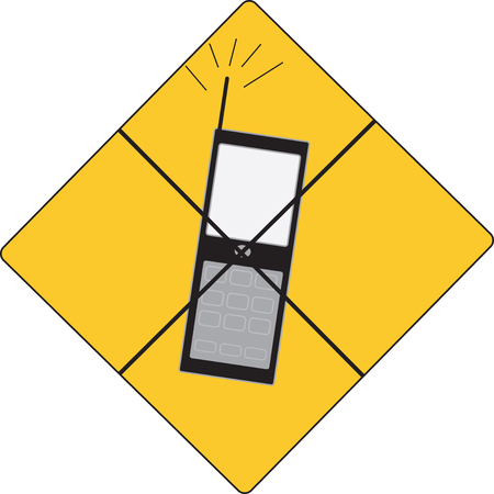 cell phones not allowed: yellow sign no mobile phoe allowed Illustration