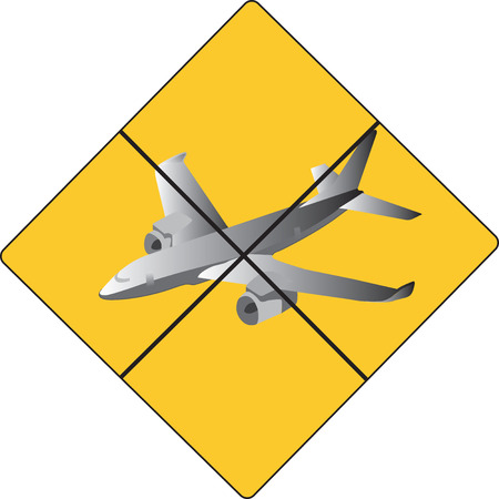 can not: yellow sign no plane allowed