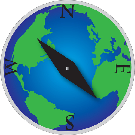 the world globe compas with land and sea Vector