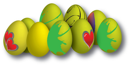 drawing of easter eggs in different colors Stock Vector - 22372073