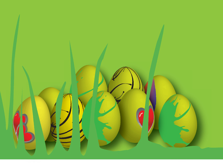 drawing of easter eggs in different colors