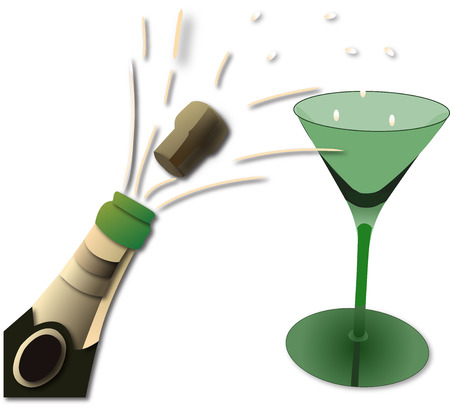 green champagne bottle and glass