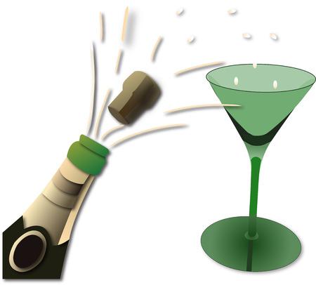 biased: verde bottiglia di champagne e vetro Archivio Fotografico