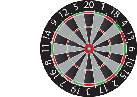 darts board drawing in red black and green photo