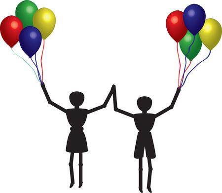 jongen en meisje Jumpin g met ballonnen in hun handen