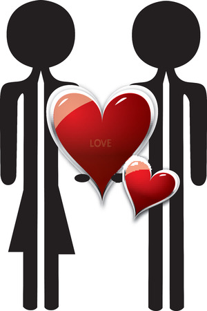 loe: couple in love with red heart shape Illustration