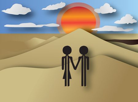 couple on sunset Vector