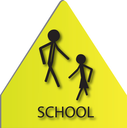 sign for school children in black and yellow Vector
