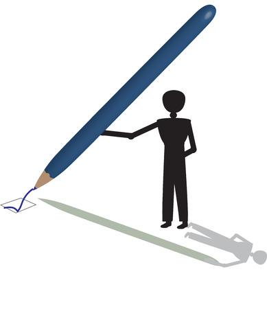 voting: man voting with blue  pencel Illustration