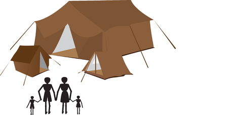 moonrise: family goint to camping holliday together
