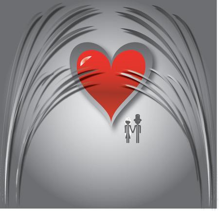 mooie achtergrond: paar op huwelijks reis met mooie achtergrond Stock Illustratie
