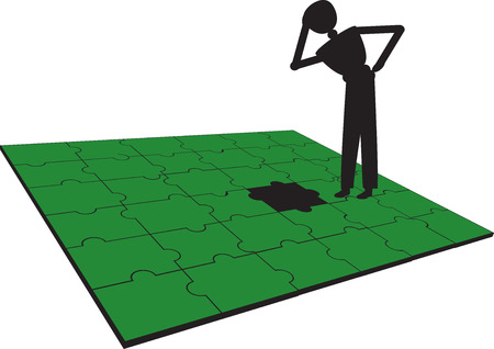 people have problem with puzzle Stock Vector - 22660557