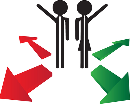problematic: couple with the choice to right or left direction Stock Photo