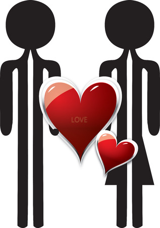 loe: couple in love with red heart shape Stock Photo