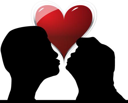 making love: pareja bes�ndose y haciendo el amor con un coraz�n rojo como fondo Foto de archivo