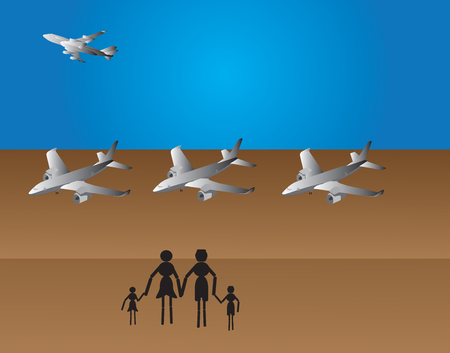 family travel with airplane to other destination Stock Vector - 22682366