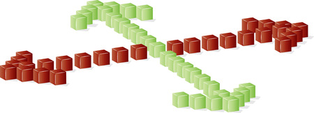 execute: green or red direction made from blocks